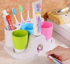 Automatic Toothpaste Dispenser Brush Holder with 3 Cups Suction Cups Wall Mount RacK