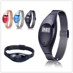 Ladies Smart Bluetooth Bracelet, Heart Rate Blood Pressure and Oxygen Monitor Watch BluetoothV4.0 Black Z18