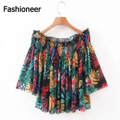 Fashioneer Spring Fashion Print Floral Long Sleeve Loose Slash Neck Backless Women T Shirt Green S