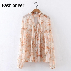 Fashioneer Sweet Color Loose Women Princess Printed Long Cardigans Shirts Blouses Tops Pink S