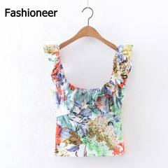 Fashioneer Women Ruffle Vintage Print Floral Sleeveless Streetwear Chiffon Blouses Shirts Tops green S