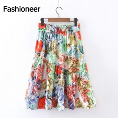 Fashioneer High Waist Floral Printed Long Maxi Vintage Print Pleated Skirts Green S