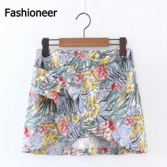 Fashioneer Women Sexy Printing Irregular Short Pencil Skirts Carual Party Mini Skirt Yellow S