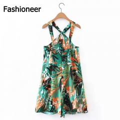 Fashioneer 2017 Summer Floral Printed Women Halter Sleeveless Cross Maxi Sexy Club Casual Dress Green S