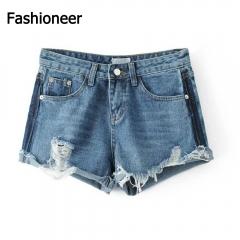 Fashioneer Denim Shorts For Women Vintage Tassel Ripped Loose Mid Waist Shorts Punk Sexy Short Jeans blue s