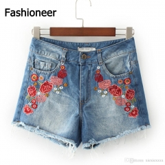 Fashioneer Jeans Shorts For Women Floral Embroidery Ripped Denim Hot Women'S Short Jeans Denim blue s