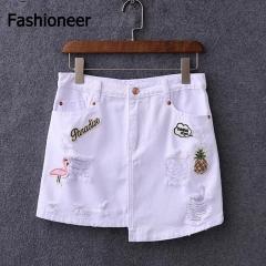 Fashioneer Jeans Skirt For Denim Women High Waist Empire Irregular Pencil Cotton Hole Split white s