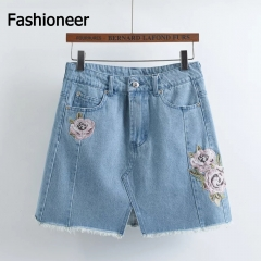Fashioneer Denim Skirts For Women High Waist Floral Embroidery Pocket Hip A Line Jean Short Large blue s