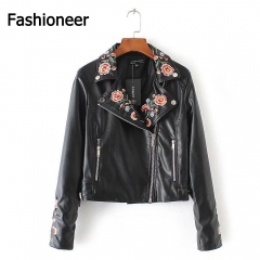 Fashioneer Jackets For Women PU Leather Rock Embroidered Floral  Black Bomber Short Jacket Woman black m
