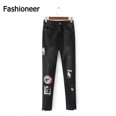Fashioneer Jeans Pants For Woman Pencil Floral Embroidery Washed High Waist Flowers Hole Denim Women blue s