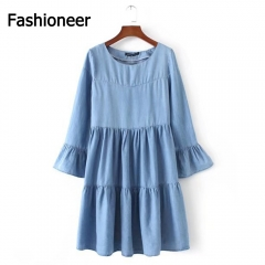 Fashioneer Jeans Dress For Woman Flare Sleeve Cotton Pleated Ruffle O Neck Loose Denim Dresses Women blue s