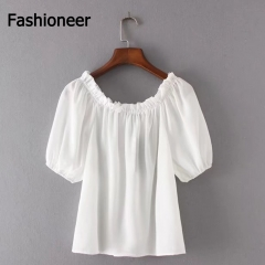 Fashioneer Shirts For Woman Pleated Slash Neck Off Shoulder Ruffle Half Sleeve Tops Blouse Women white s