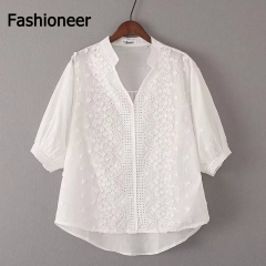 Fashioneer Shirts For Woman V Neck Loose Embroidery Flower Cotton Hollow Out Half Sleeve Tops Women white s