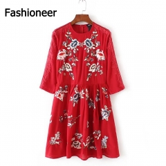 Fashioneer Dress For Woman Lace Flower Embroidery Pleated High Waist O Neck Dresses Women red s