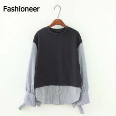 Fashioneer Shirts For Woman Crochet Patchwork Navy Long Sleeve Loose  Striped Tops Blouse Women navy s