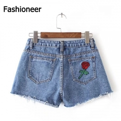 Fashioneer Jeans Shorts For Women Flower Embroidery Loose High Waist Washed A-line Blue Shorts Women blue s