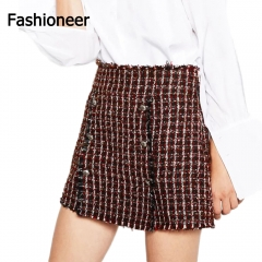 Fashioneer Skirts For Women Crochet A-line Slim Short Button Red High Waist Tassel Plaid Woman red s