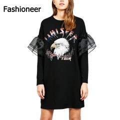 Fashioneer Dress For Woman Letter Animal Printed Mesh O Neck Patchwork A-Line Dresses For Women black s