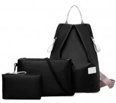 Joyism New Fashion Women 3pcs Solid Color Nylon Handbag Tote Portable Backpack black f