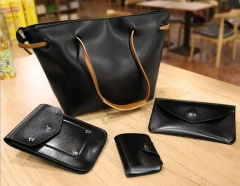 Joyism 4 PCS Graceful Solid Color Design Women Luxury Handbag  PU Leather Genuine Bags black f
