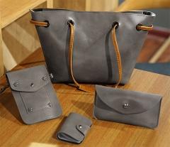 Joyism 4 PCS Graceful Solid Color Design Women Luxury Handbag  PU Leather Genuine Bags gray f