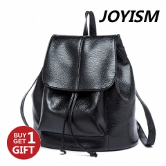 Joyism Euramerican Stylish PU Leather Backpack Drawstring Travel Bag Women Handbag.Black one size Black F