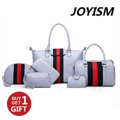 Joyism 6 PCS Graceful Crocodile Print and Solid Color Design  Handbags For Women baby blue f