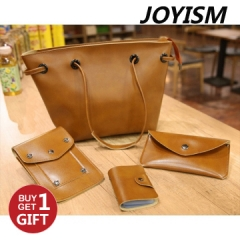 Joyism 4 PCS Graceful Solid Color Design Women Luxury Handbag  PU Leather Genuine Bags brown f