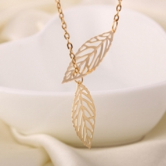 Gold And Sliver 1 Leaf Pendants Necklace Chain multi layer statement necklaces Woman silver golden F