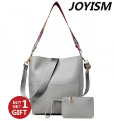 Joyism Luxury Handbags Women Shoulder Bag Female Vintage Satchel Bag Pu Leather Gray Crossbody  Bags gray f