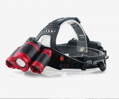 3 LED 4 Modes Waterproof LED Headlamp Wall Charger and USB Cable for Outdoor Sports red one size