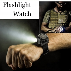 LED Watch Flashlight Rechargeable Waterproof Wrist Lighting Lamp Outdoor Light Compass Display black one size
