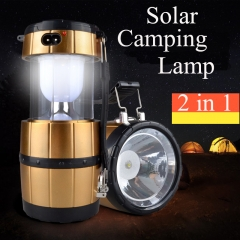 Solar energy Camping Lantern Tent Lights for Outdoor Camping Rechargeable Camping Light Collapsible gloden one size