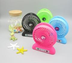 Mini-handle small fan LED lighting plastic rechargeable fan blue one size