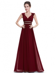 N&Z Evening Dresses Women's Elegant Sexy Navy Blue and White V-neck Long Evening Dresses 2017 New Burgundy 4