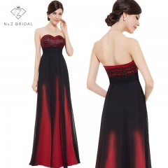 New Arrival Strapless Sweetheart Printed Evening Dress Gown red 4