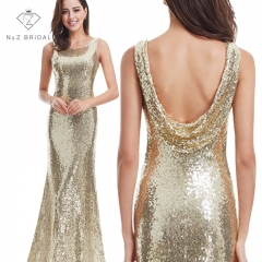 Sequin Golden Evening Gown Wedding Reception Dress Special Back Design gold 4