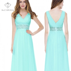 V-cut Two Straps A line Chiffon Bridesmaids Dress with Sheer Lace Waistline light green 4