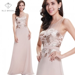 Elegante Sleeveless Sheer Sweetheart Neckline Lace A line Evening Dress beige 4