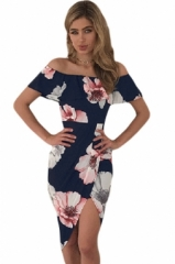 Bra collar short sleeved dress pleated back zipper Bohemia stamp Flower m
