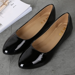 Bright leather PU soft bottom low with pointed shoes soft and comfortable dance shoes 36 ~ 41 BLACK 36