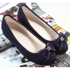 Dark blue suede increase in small slope with women's shoes bow cute single shoes Deep Blue 38