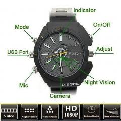 8GB Waterproof Watch Spy Camera Camcorder DVR 1080PWithIRNightVision Cam (Black) - Intl black S