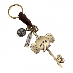 Keychain Leather Pendant, Elephant Key Ring Handbag Charm Handmade Lightweight Portable Unisex golden one size