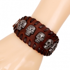 Cool Leather Bracelet Skull Head Handcraft Bangle Leather Cuff Wristband Punk Rock Biker brown one size
