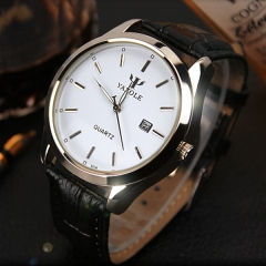 Complete Calendar Luminous Water Resistant Relogio Masculino Business Wrist Men Watch white watch dial black watchband