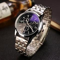 2017 Luxury Brand Full Stainless Steel Analog Display Date Men's Quartz Watch Business Watch black dial steel