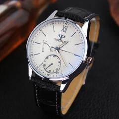 2017 HongC Watch Men Fashion Casual Quartz Wrist Watches Top Brand Luxury Wristwatch white watch dial black watchband