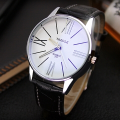 2017 HongC Casual Fashion Leather watches Business Wristwatch Dropshipping white watch dial black watchband