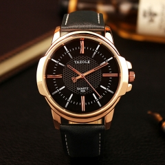 fathers day gifts Watch Men Business Casual Leather Strap Wristwatch Clock Male Sport Watch Black dial Black strap